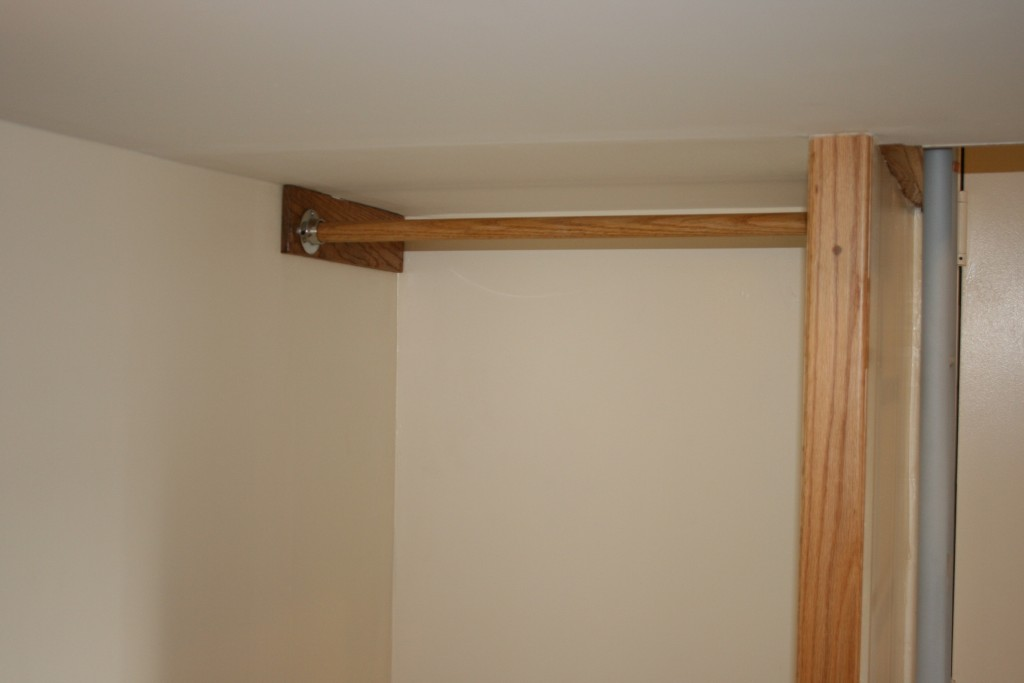 Built in closet under loft left open for maximum space usage.