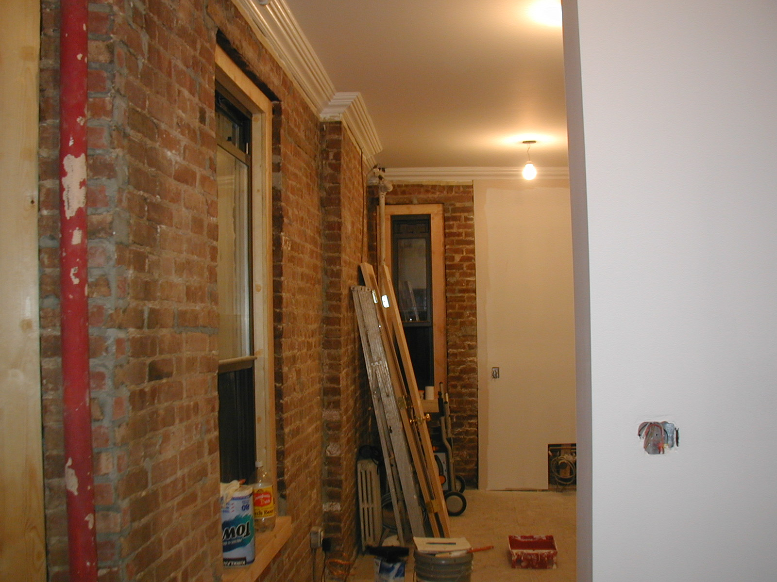Exposed Bricks And Finish Painting Lee Wiring In Brick Wall A Nice Long Shot Of The That Would Be Kitchen Dinning Room